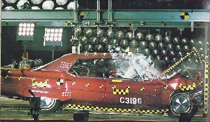 Early GM airbag system testing. 1974 Oldsmobile shown
